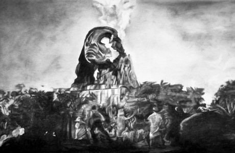 Barlach Temple on Fire (2019), charcoal on paper, 137x80cm